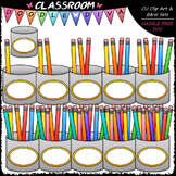 (0-10) Counting Pencils Clip Art - Sequence, Counting & Math Clip Art & B&W Set