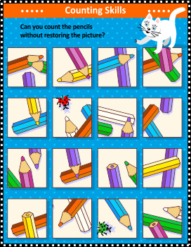 Counting Pencils Visual Puzzle, Commercial Use Allowed