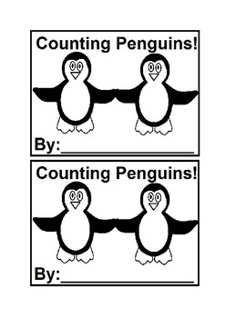 Counting Penguins Emergent Reader Book in Black and White for Preschool