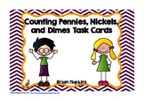 Counting Pennies, Nickels, and Dimes Task Cards