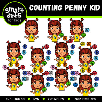 Counting Penny Kid Clip Art