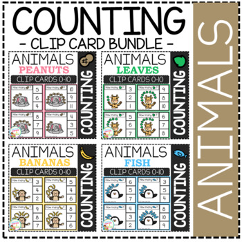 Counting Picture Clip Cards 0-10: Animal Bundle