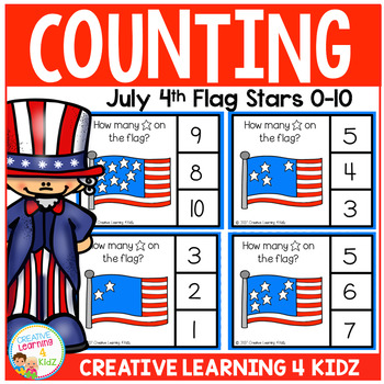 Counting Picture Clip Cards 0-10: July 4th Flags
