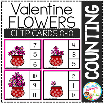 Counting Picture Clip Cards 0-10: Valentine's Day Bundle