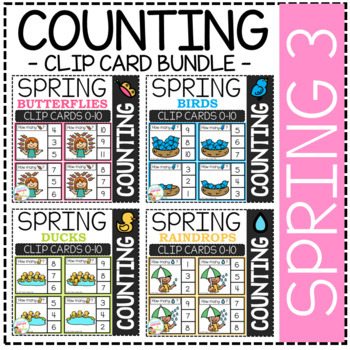 Counting Picture Clip Cards 0-10: Spring 3