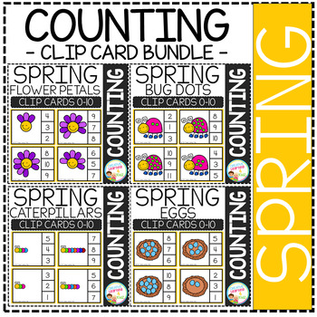 Counting Picture Clip Cards 0-10: Spring Bundle