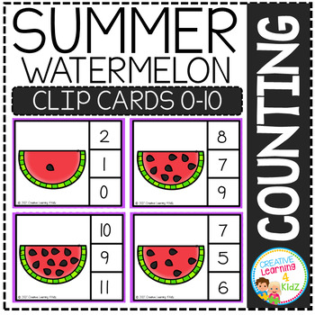 Counting Picture Clip Cards 0-10: Summer Bundle