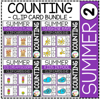 Counting Picture Clip Cards 0-10: Summer Bundle Set 2