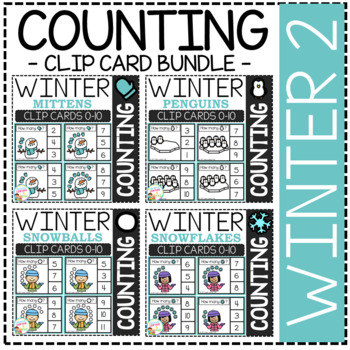 Counting Picture Clip Cards 0-10: Winter 2 Bundle