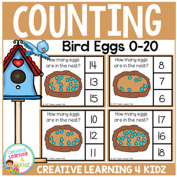 Counting Picture Clip Cards 0-20: Bird Eggs