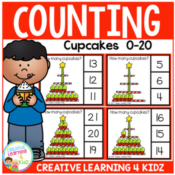 Counting Picture Clip Cards 0-20: Christmas Cupcakes
