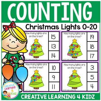 Counting Picture Clip Cards 0-20: Christmas Lights
