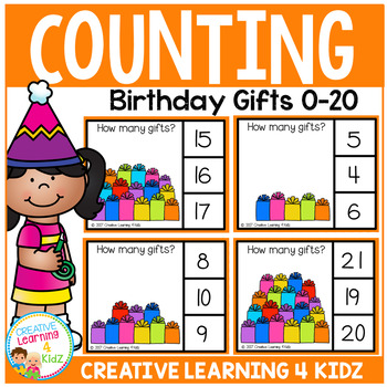 Counting Picture Clip Cards 0-20: Gifts