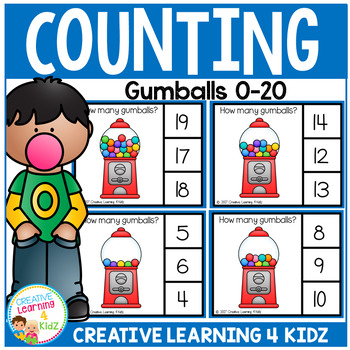 Counting Picture Clip Cards 0-20: Gumballs