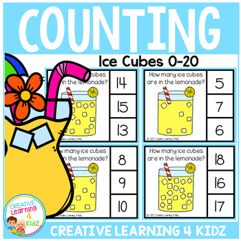 Counting Picture Clip Cards 0-20: Lemonade Ice Cubes