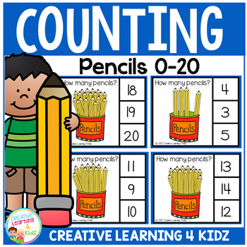Counting Picture Clip Cards 0-20: Pencils
