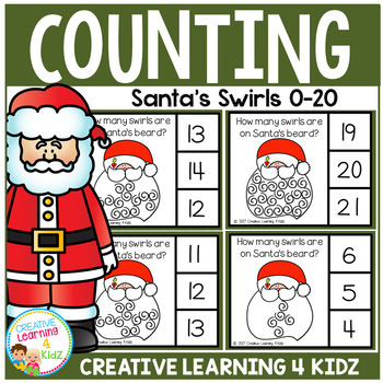 Counting Picture Clip Cards 0-20: Santa's Swirls Christmas