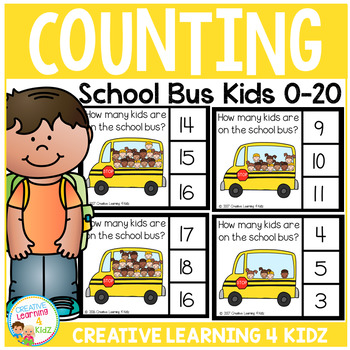 Counting Picture Clip Cards 0-20: School Bus Kids