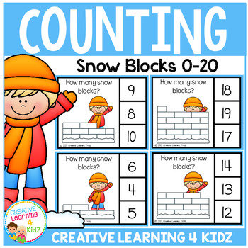 Counting Picture Clip Cards 0-20: Snow Blocks