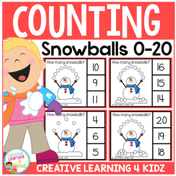 Counting Picture Clip Cards 0-20: Snowballs