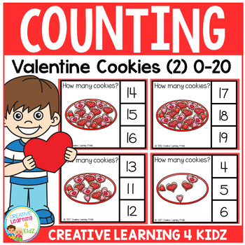 Counting Picture Clip Cards 0-20: Valentine Cookies 2