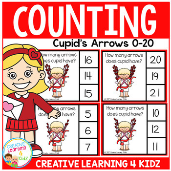 Counting Picture Clip Cards 0-20: Valentine Cupid's Arrows