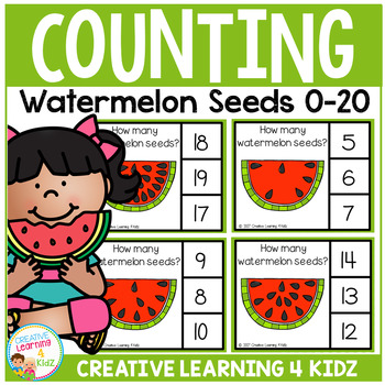 Counting Picture Clip Cards 0-20: Watermelon Seeds