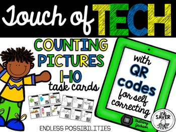 Counting Pictures 1-10 Task Cards with QR Codes
