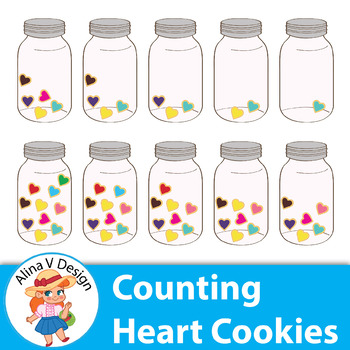Counting Pictures: Heart Cookies in A Jar Valentine's Day Clip Art