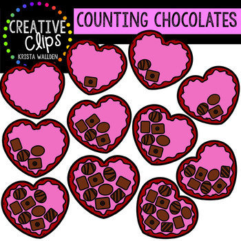 Counting Pictures: Valentine Chocolates {Creative Clips Clipart}