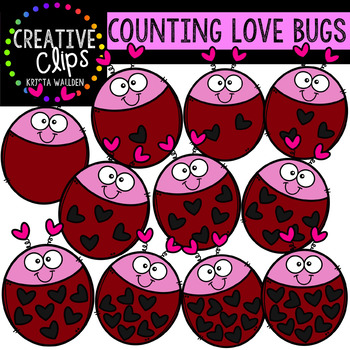 Counting Pictures: Valentine Love Bugs {Creative Clips Clipart}