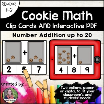 Counting Cookies Clip Cards AND Interactive PDF Game