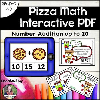 Pizza Math Interactive PDF: Addition to 20