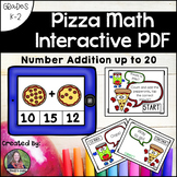 Counting and Addition Math Interactive PDF: Adding to 20 Pizzas