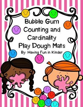 Counting Play Dough Mats - Bubble Gum Fun