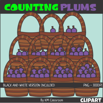 Counting Plums Basket ClipArt