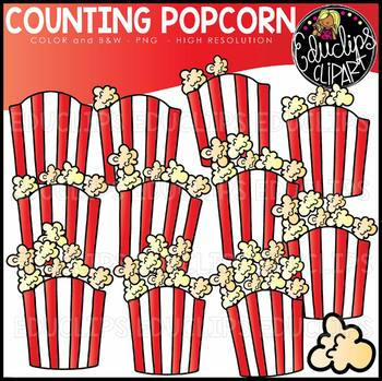 Counting Popcorn Clipart Set {Educlips Clipart}
