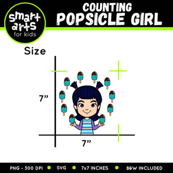 Counting Popsicle Girl Clip Art