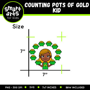 Counting Pots of Gold Kid Clip Art