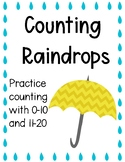 Counting Practice 0-20 Counting Raindrops Printable