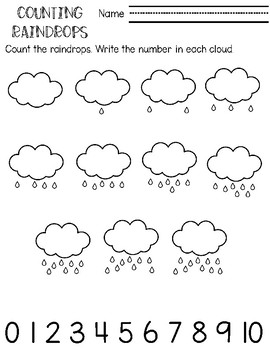 photo relating to Printable Raindrops named Counting Prepare 0-20 Counting Raindrops Printable