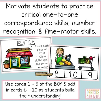 Counting Practice -Clip Cards for Numbers 1 - 10 - Adorable Grocery Store Themed