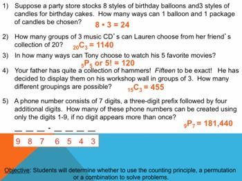Counting Principle, Permutation, Combination Word Problems (Close Reading)