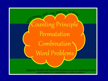 Counting Principle, Permutation, Combination Word Problems