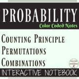 Counting Principle Permutations Combinations Color Coded Interactive Notebook