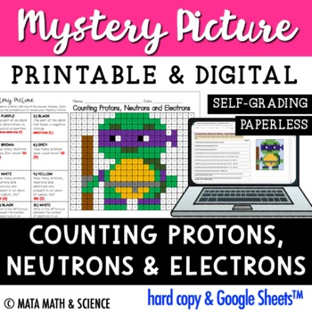 Counting Protons, Neutrons and Electrons: Mystery Picture (Turtle)