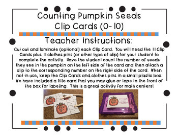 Counting Pumpkin Seeds Clip Cards (0-10)