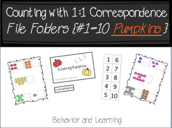 Counting Pumpkins 1-10 File Folder-for Students with Autism and Special Needs