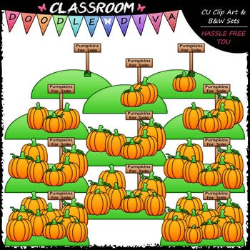 (0-10) Counting Pumpkins Clip Art - Sequence, Counting & Math Clip Art & B&W Set