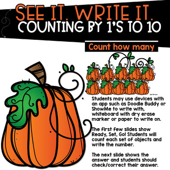 Counting Pumpkins - Counting by 1's See it Write it